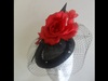 Suzie Mahony Designs Black Beret with Red Silk Flowers